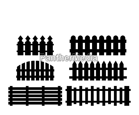 wooden fence set simple silhouette design