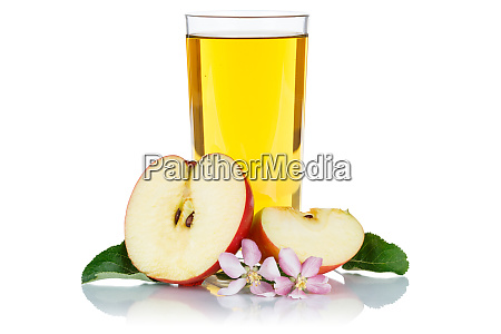 apple juice in a glass apples