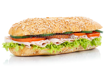 baguette sub sandwich with ham whole