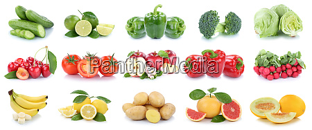 fruits and vegetables collection isolated apples