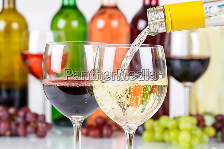 wine pouring glass bottle white pour