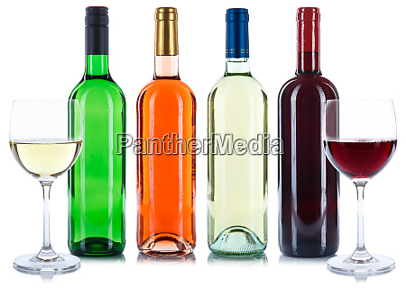 red and white rose wine bottles