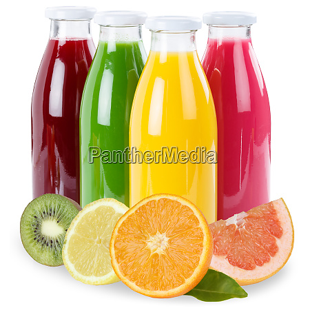 fruchtsaft fruechte in einer flasche isoliert