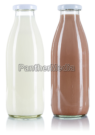 milk and chocolate drink bottle isolated