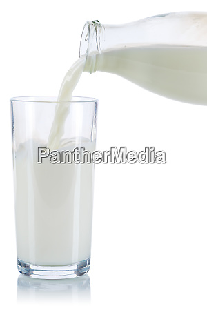 milk pouring pour glass bottle isolated