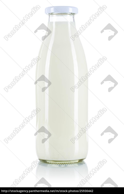 milchflasche, auf, weiß, isoliert - 25930442