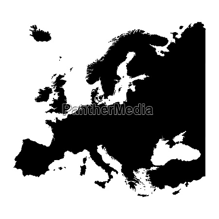 map of europe silhouette design isolate