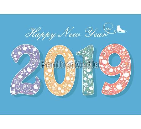 frohes neues jahr 2019 blumen und
