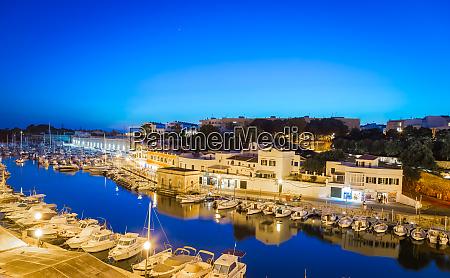ciutadella harbour in menorca spain