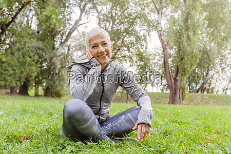 happy active senior woman relaxing in