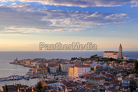 piran in slovenia with the church