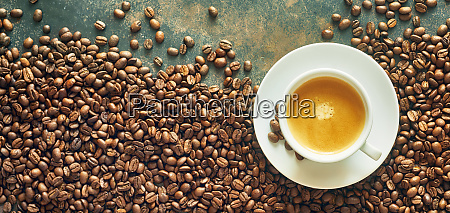 panorama banner with cup of coffee