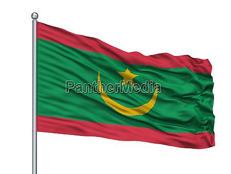 mauretanien flagge auf fahnenmast isoliert auf
