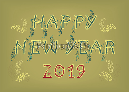 frohes neues jahr 2019 folk dekor