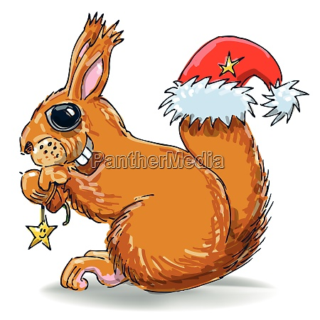 squirrel with nut and santa hat