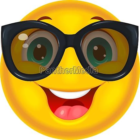 gluecklicher smiley in sonnenbrille