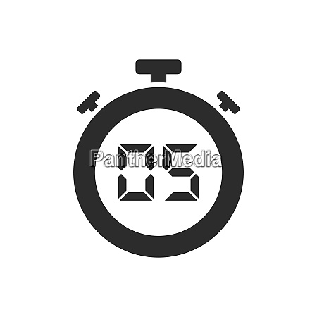 isolated stopwatch icon with five seconds