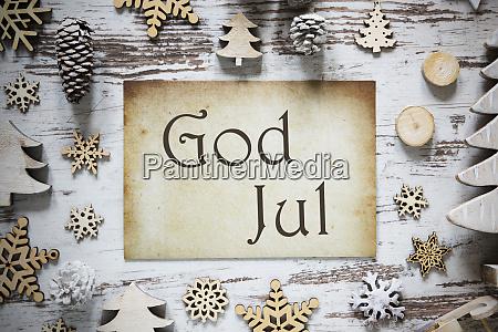 rustikale weihnachtsdekoration papier gott jul bedeutet