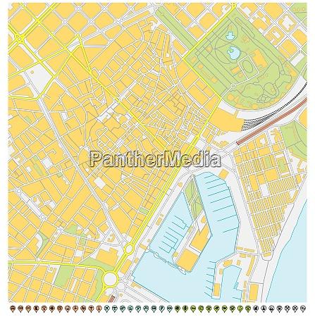 barcelona stadtplan mit pin zeigern und