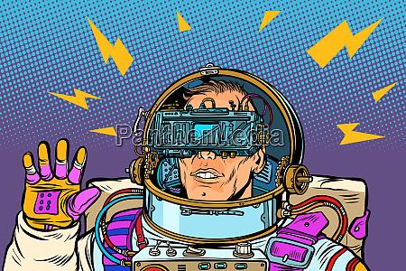 astronaut in virtueller realitaet vr brille