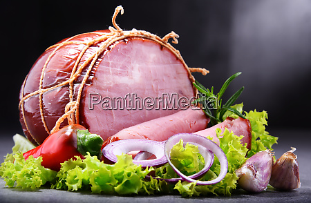 composition with piece of ham meatworks