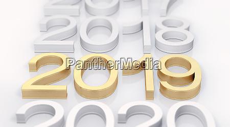3d goldener text 2019