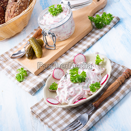 delicious homemade meat salad with mayonnaise