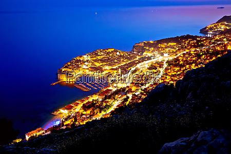 town of dubrovnik archipelago evening view