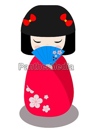 japanische geisha kokeshi puppe asiatische kultur