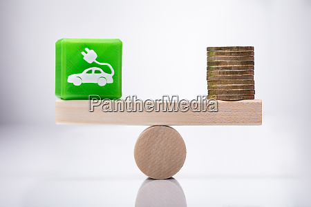 eco car icon cubic block and