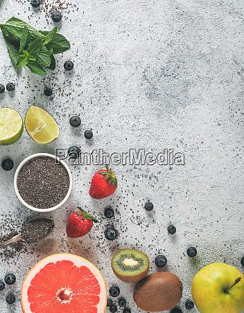 fresh fruits berries chia seeds and