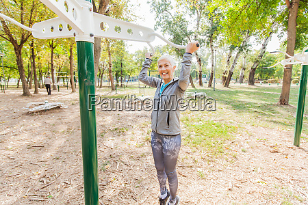 fitness senior woman exercise at outdoor
