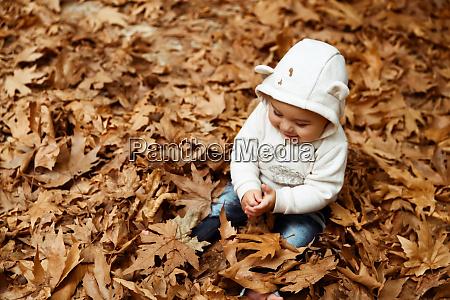 happy baby boy enjoying autumn