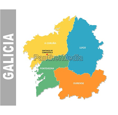 colorful galicia administrative and political vector