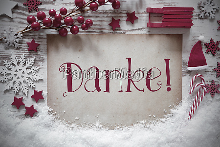red christmas decoration snow danke means