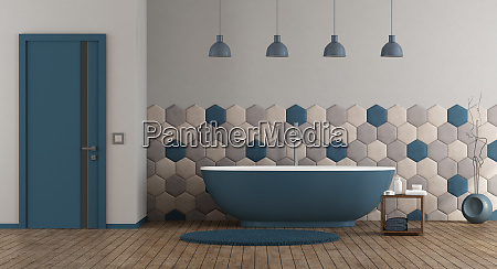 blaues und graues modernes bad