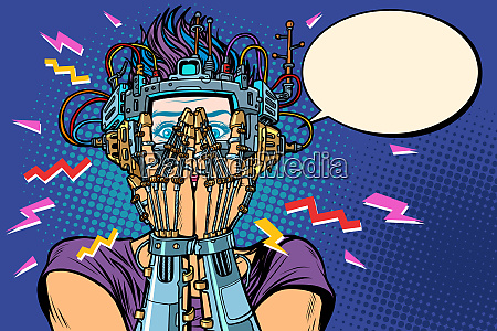 cyborg frau in vr brille ueberrascht