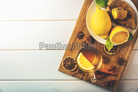 ginger tea with lemon top view