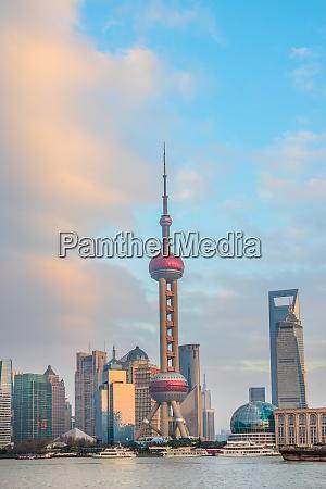 shanghai skyline with tv tower