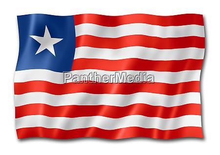 liberianische flagge auf weiss isoliert