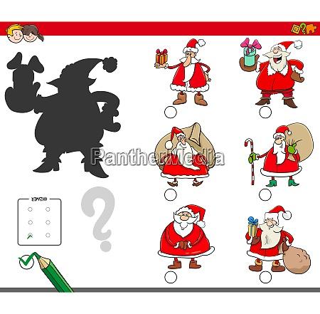 shadows game with cartoon santa claus