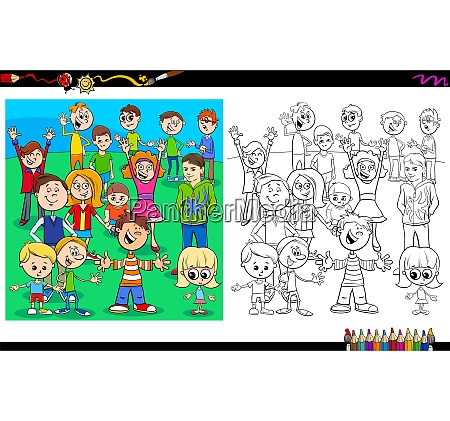 happy children characters coloring book