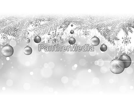 silber, weihnachten, hintergrund, mit, zweigen, und - 25957703
