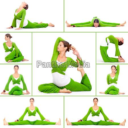 huebsche frau beim yoga