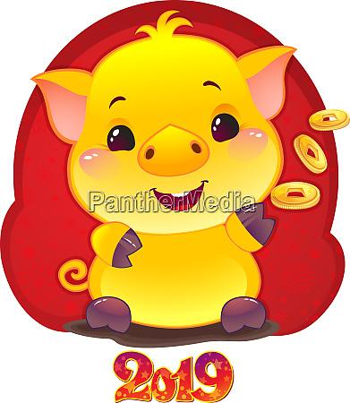 gelbes ohrenschwein mit goldenen muenzen fuer