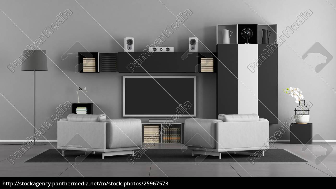 Lizenzfreies Bild 25967573 - schwarz weiß wohnzimmer mit fernseher