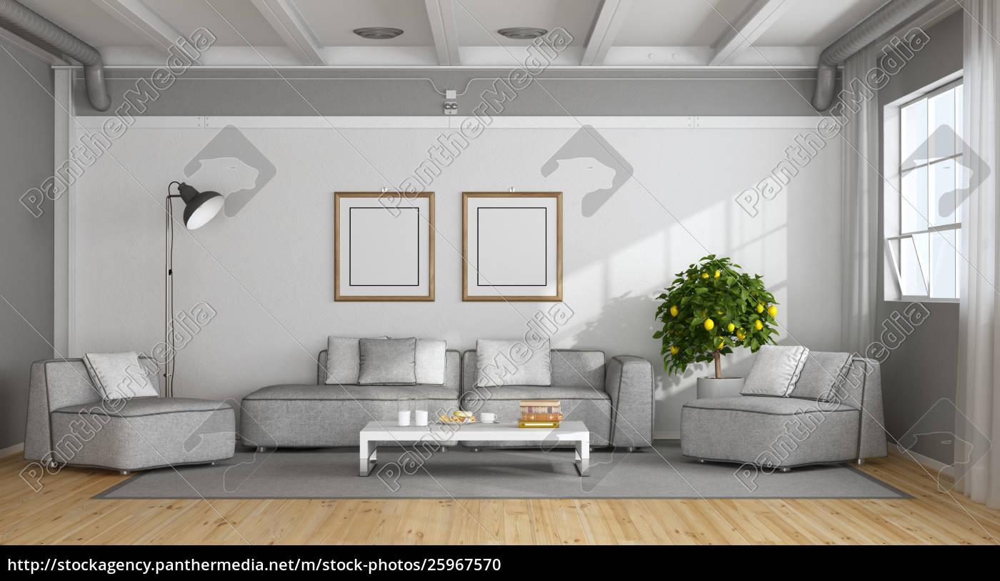 Delicieux Stock Photo 25967570   Weißes Und Grau Modernes Wohnzimmer