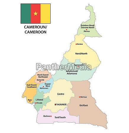 republik kamerun administrative und politische karte
