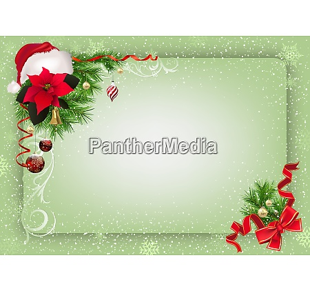 green christmas background with decorations and
