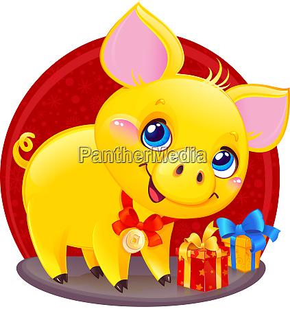 gelbes ohrenschwein mit geschenkbox fuer das